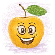 Stock Illustration of happy yellow apple