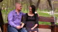 loving couple ride on a swing in the park 7 HD Footage