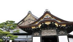 nijo castle on white background kyoto, japan - stock photo