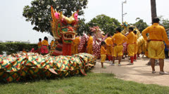 Thai dragon performers.Two shots. Stock Footage