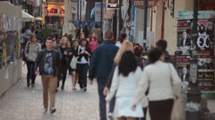 Crowds of Pedestrians in Bucharest Romania Stock Footage