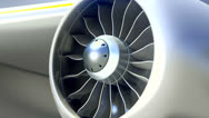 Stock Video Footage of Closeup of Airplane Engine, Loop Video