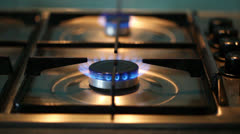 Gas Hob Burning Turned Off Stock Footage
