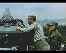 Cold War - Officers check cannon settings Stock Footage