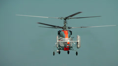 Take-off of the sea deck helicopter with the double bearing screw Stock Footage