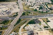 Freeway interchange aerial view Stock Photos