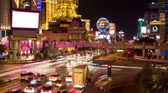 Las Vegas city intersection at night time-lapse 4K Ultra HD Stock Footage