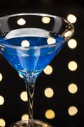 Blue martini cocktail Stock Photos