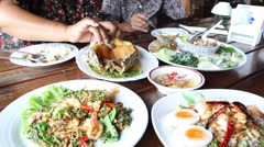 Group of Thai food dinner, Thailand family Stock Footage