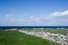 stonewall by the coast - stock photo