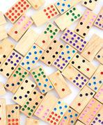 Wood domino set Stock Photos