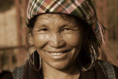 sapa, vietnam - sep 30:unidentified woman of the flower h'mong indigenous wom - stock photo