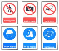 The collection of work, safety, harmful, industry signs Stock Photos