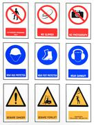 The collection of work, safety, harmful. Stock Photos