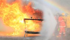 fire fighter  on training. - stock photo