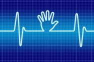 Stock Illustration of blue hand help signal oscilloscope.