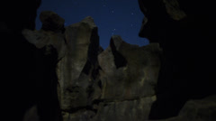 Volcanic Rock Formation LM03 Timelapse Moonlight Shadows Dolly L Tilt Up Stock Footage