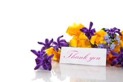 spring bouquet of flowers with gratitude - stock photo