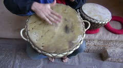 Playing with tabla drums in India Stock Footage