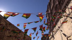 Flags and wind in Jodphur fort, Rajasthan,India Stock Footage