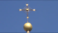 An ancient Orthodox Holy Trinity Cathedral, bell tower Stock Footage
