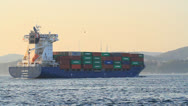 Container ship cruising northbound on the straits Bosporus Stock Footage