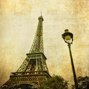 Vintage image of eiffel tower, paris, france Stock Photos