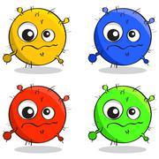 Vector set of cartoon germs Stock Illustration
