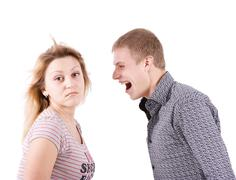 the man shouts at the woman - stock photo