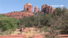 Horse woman with horse at Red Rock Crossing Sedona 1 in series Stock Footage