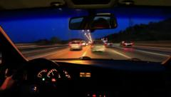 Driving on highway at night Stock Footage