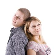 young enamoured man and the woman - stock photo