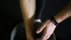 Male Lifter Chalking Hands (with audio) - stock footage