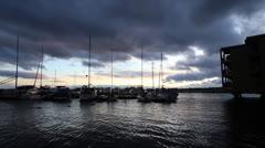 Sailboat Marina at Sunset Stock Footage