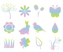 Colorful spring elements Stock Illustration