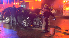 Emergency Scene Mangled Car Crash Polce Fire And Medical Stock Footage