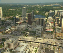 Aerial over downtown Orlando Stock Footage