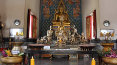 Interior of Thai Temple. Stock Footage