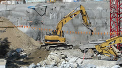 Crawler Excavator in Commercial Development - stock footage