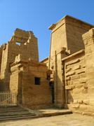 main gate of the temple of medinet habu (dedicated to ramesses iii), on the w - stock photo