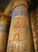 Luxor: polychromed columns with carvings of the pharaoh and his wife surround Stock Photos