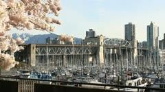 Burrard Street Bridge, Marina, Vancouver Spring Stock Footage