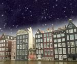 Amsterdam. beautiful view of classic buildings with night sky Stock Photos