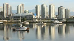 False Creek Boats, Vancouver Cityscape Stock Footage