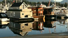 Float Homes, Coal Harbor, Vancouver Stock Footage