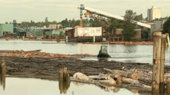 Stock Video Footage of Fraser River Lumber Industry, Vancouver