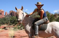 woman and horse 2 in series - stock photo