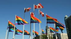 Rainbow Flags Flutter, Gay Pride, Vancouver Stock Footage