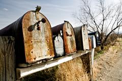 Old mailboxes in midwest USA Stock Photos