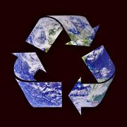 Earth Blue Recycle Symbol Isolated on Black Background - stock photo